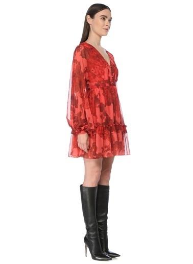 NetWork Kadın 1077201 Regular Fit Desenli Mini Elbise Kırmızı